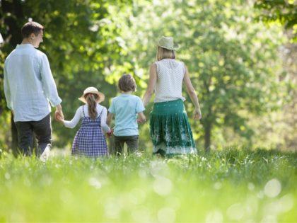Family walking in field of flowers - stock photo