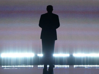Presumptive Republican presidential candidate Donald Trump arrives on stage on the first day of the Republican National Convention on July 18, 2016 at Quicken Loans Arena in Cleveland, Ohio. The Republican Party opened its national convention, kicking off a four-day political jamboree that will anoint billionaire Donald Trump as its …