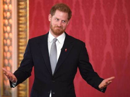 LONDON, ENGLAND - JANUARY 16: Prince Harry, Duke of Sussex, the Patron of the Rugby Football League hosts the Rugby League World Cup 2021 draws at Buckingham Palace on January 16, 2020 in London, England. The Rugby League World Cup 2021 will take place from October 23rd through to November …