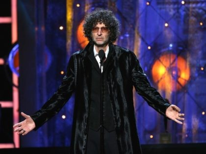 CLEVELAND, OH - APRIL 14: Howard Stern inducts Bon Jovi on stage during the 33rd Annual Rock & Roll Hall of Fame Induction Ceremony at Public Auditorium on April 14, 2018 in Cleveland, Ohio. (Photo by Kevin Kane/Getty Images For The Rock and Roll Hall of Fame)