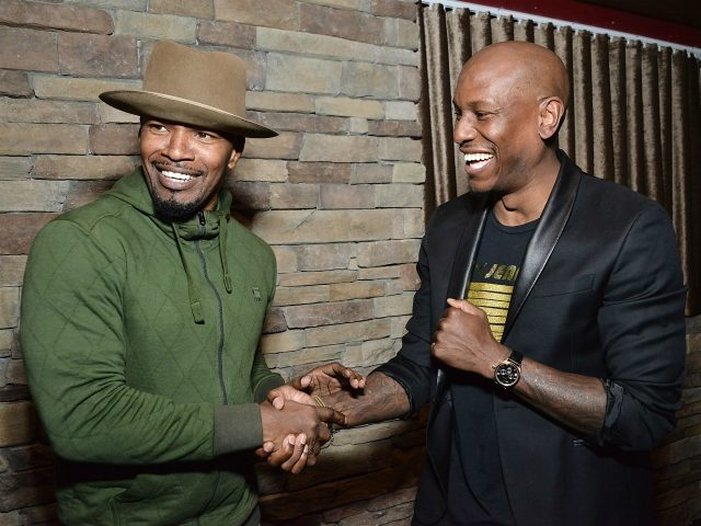 BEVERLY HILLS, CA - FEBRUARY 23: Jamie Foxx and Tyrese Gibson attend Haute Living along with Dr. Gabriel Chiu & Christine Chiu Host Pre-Oscars Dinner for David O. Russell with Perrier-Jouet at Mastro's Steakhouse on February 23, 2016 in Beverly Hills, California. (Photo by Araya Diaz/Getty Images for Haute Living)