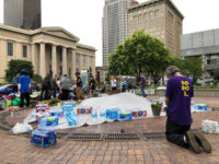 A man prays at Jefferson Square Park on Sunday, June 28, 2020, in Louisville, Ky., which has been the site of weeks of protests. Authorities were investigating a fatal shooting Saturday night at the park in downtown Louisville where demonstrators had gathered to protest the death of Breonna Taylor. (AP …