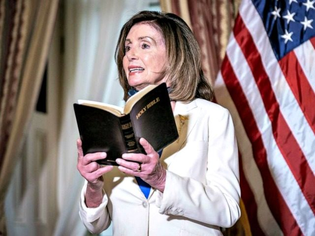 House Speaker Nancy Pelosi speaks while holding a bible during an event at the U.S. Capitol in Washington, June 2, 2020.House Speaker Nancy Pelosi speaks while holding a bible during an event at the U.S. Capitol in Washington, June 2, 2020. Sarah Silbiger/Bloomberg via Getty Images