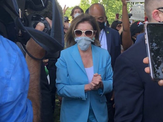 Nancy Pelosi Attends George Floyd Protest Surrounded by Guards