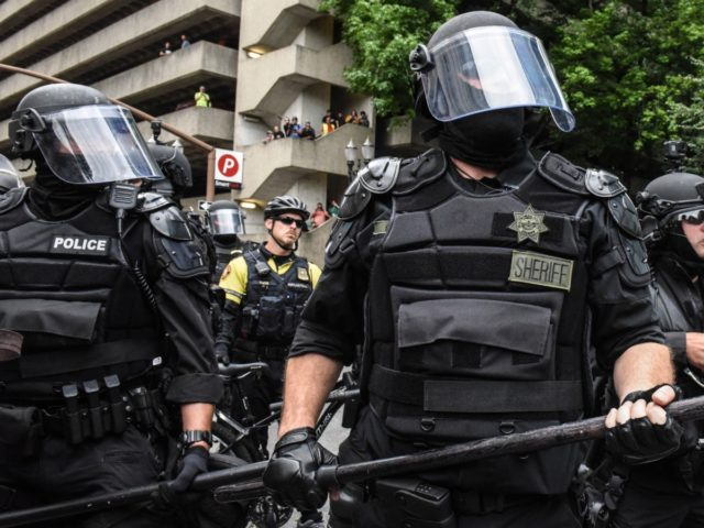 PORTLAND, OR - AUGUST 17: Portland police respond to protesters during an alt-right rally on August 17, 2019 in Portland, Oregon. Anti-fascism demonstrators gathered to counter-protest a rally held by far-right, extremist groups. (Photo by Stephanie Keith/Getty Images)