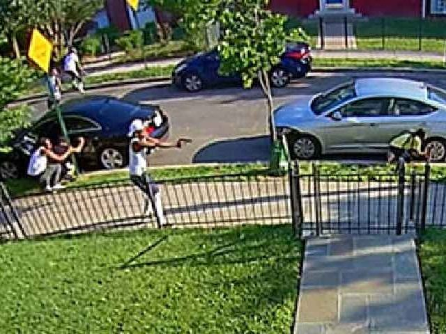 Video obtained by Fox 5 shows Washington, DC, residents having a wild west shootout right along the street Friday just before 7 p.m.