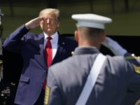 US President Donald Trump salutes as he arrives at the 2020 US Military Academy graduation ceremony in West Point, New York, June 13, 2020. - Trump is delivering the commencement address at the 2020 US Military Academy Graduation Ceremony. The Military Academy will graduate more than 1,000 cadets at the …