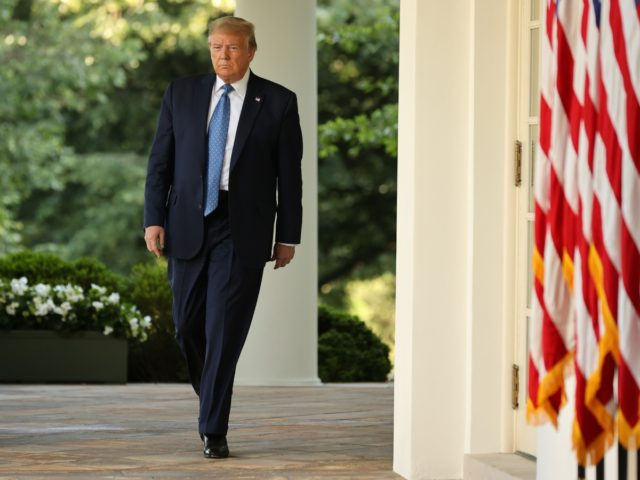 "WASHINGTON, DC - JUNE 01: U.S. President Donald Trump walks out of the White House to make a statement to the press about restoring ""law and order"" on June 1, 2020 in Washington, DC. Earlier in the day, President Donald Trump encouraged U.S. governors to be more aggressive against violent …"
