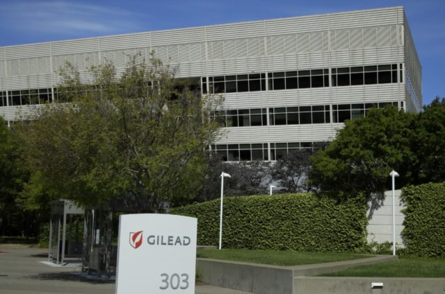 This is an April 30, 2020, file photo showing Gilead Sciences headquarters in Foster City, Calif. A California biotech company says its experimental drug remdesivir improved symptoms when given for five days to moderately ill, hospitalized patients with COVID-19. Gilead Sciences gave few details on Monday, June 1, 2020, but …