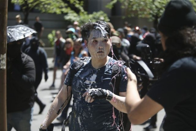 In this June 29, 2019, photo, Andy Ngo, a conservative writer, is seen after being attacked by a group of left-wing protesters at a demonstration in Portland, Ore. Ngo has filed a lawsuit against purported elements of the nebulous far-left-leaning militant groups collectively known as antifa on Thursday, June 4 …
