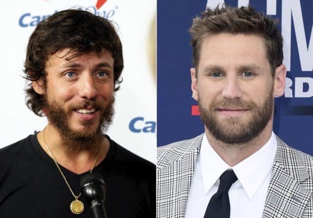 This combination photo shows Chris Janson at the iHeartCountry Festival in Austin, Texas on May 4, 2019, left, and Chase Rice at the 54th annual Academy of Country Music Awards in Las Vegas on April 7, 2019. Musicians and fans alike are criticizing country artists like Janson and Rice who …