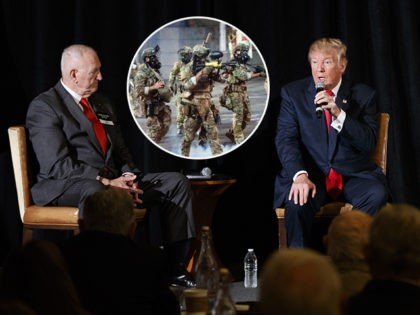 (INSET: Federal agents in Portland, Oregon) Retired Gen. William Boykin, left, and Family Research Council President Tony Perkins, right, listen as Republican presidential candidate Donald Trump speaks during a town hall with the Retired American Warriors, Monday, Oct. 3, 2016, in Herndon, Va. (AP Photo/ Evan Vucci)