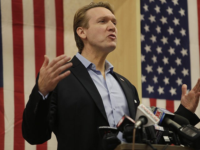 Democratic Congressional candidate Nate McMurray makes his concession speech following his loss to Republican incumbent Chris Collins who was re-elected to New York's 27th Congressional District, Tuesday, Nov. 6, 2018, in Hamburg N.Y. (AP Photo/Jeffrey T. Barnes)