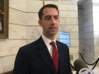 FILE - In this Nov. 4, 2019 file photo, Republican U.S. Sen. Tom Cotton talks to reporters after filing for re-election at the Arkansas state Capitol in Little Rock, Arkansas. The chairman of the Arkansas Democratic Party says there's no path for replacing the challenger to Republican Sen. Tom Cotton …