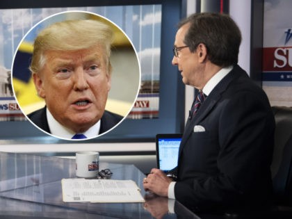 "(INSET: Donald Trump) Former FBI Director James Comey talks with ""Fox News Sunday"" anchor Chris Wallace, Sunday morning, Dec. 15, 2019, in Washington. (AP Photo/Kevin Wolf)"