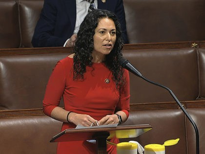 In this image from video, Rep. Xochitl Torres Small, D-N.M., speaks on the floor of the House of Representatives at the U.S. Capitol in Washington, Thursday, April 23, 2020. (House Television via AP)