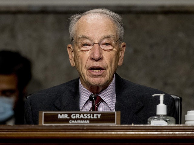 Chairman Sen. Chuck Grassley, R-Iowa, speaks as U.S. Trade Representative Robert Lighthizer appears at a Senate Finance Committee hearing on U.S. trade on Capitol Hill, Wednesday, June 17, 2020, in Washington. (AP Photo/Andrew Harnik, Pool)