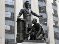 A statue that depicts a freed slave kneeling at Abraham Lincoln's feet rests on a pedestal, Thursday, June 25, 2020, in Boston. The statue in Boston is a copy of the Emancipation Memorial, also known as the Emancipation Group and the Freedman's Memorial, that was erected in Lincoln Park, in …