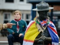 POOLE, ENGLAND - JUNE 12: General view of the Lord Baden-Powell statue on June 12, 2020 in Poole, United Kingdom. The statue of Robert Baden-Powell on Poole Quay is to be placed into safe storage after campaigners have accused him of racism, homophobia and support for Adolf Hitler. (Photo by …