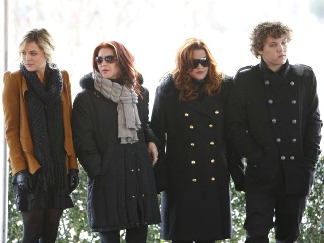 FILE - In this Jan. 8, 2010, file photo, Priscilla Presley, second from left, her daughter, Lisa Marie Presley, second from right, and Lisa Marie's children, Riley Keough, left, and Benjamin Keough, right, take part in a ceremony in Memphis, Tenn., commemorating Elvis Presley's 75th birthday. Keough has died. Lisa …