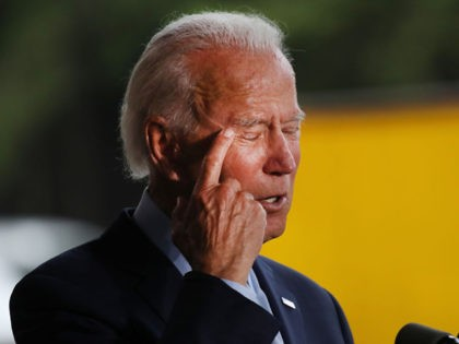 DUNMORE, PENNSYLVANIA - JULY 09: The presumptive Democratic presidential nominee Joe Biden speaks at McGregor Industries on July 09, 2020 in Dunmore, Pennsylvania. The former vice president, who grew up in nearby Scranton, toured a metal works plant in Dunmore in northeastern Pennsylvania and spoke about his economic recovery plan. …