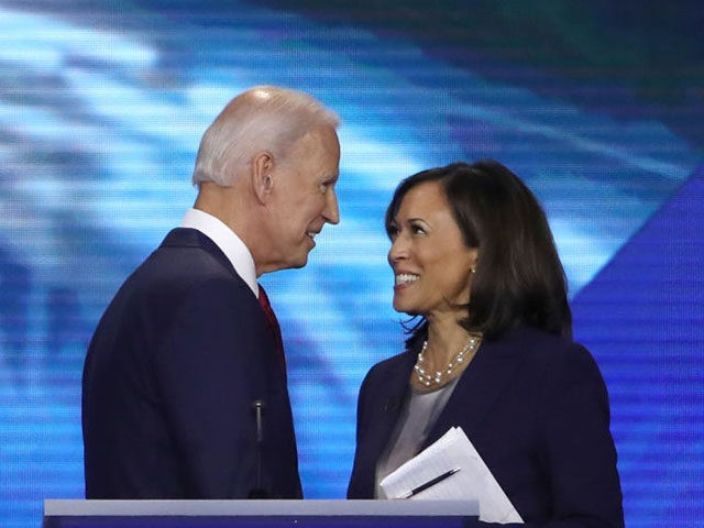 HOUSTON, TEXAS - SEPTEMBER 12: Democratic presidential candidates former Vice President Joe Biden and Sen. Kamala Harris (D-CA) speak after the Democratic Presidential Debate at Texas Southern University's Health and PE Center on September 12, 2019 in Houston, Texas. Ten Democratic presidential hopefuls were chosen from the larger field of …