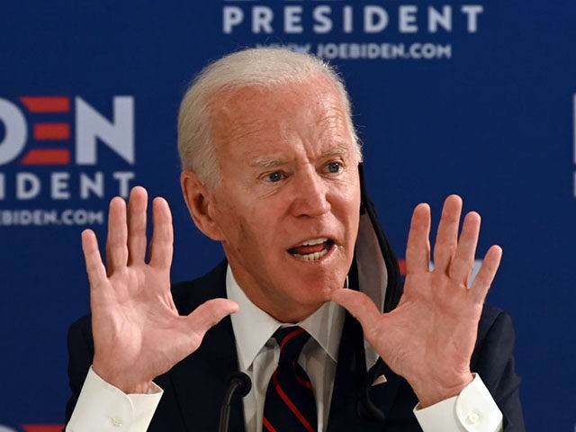 Democratic presidential candidate Joe Biden holds a roundtable meeting on reopening the economy with community leaders at the Enterprise Center in Philadelphia, Pennsylvania, on June 11, 2020. (Photo by JIM WATSON / AFP) (Photo by JIM WATSON/AFP via Getty Images)