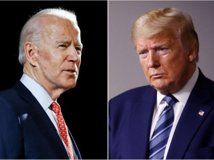 In this combination of file photos, former Vice President Joe Biden speaks in Wilmington, Del., on March 12, 2020, left, and President Donald Trump speaks at the White House in Washington on April 5, 2020. Early polling in the general election face-off between Trump and Biden bears out a gap …