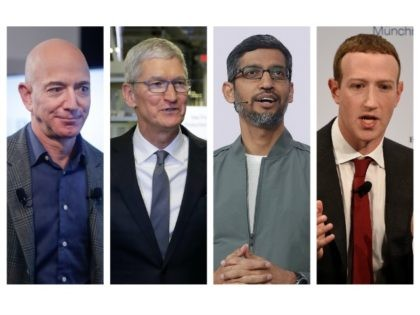 This combination of 2019-2020 photos shows Amazon CEO Jeff Bezos, Apple CEO Tim Cook, Google CEO Sundar Pichai and Facebook CEO Mark Zuckerberg. On Wednesday, July 29, 2020, the four Big Tech leaders will answer for their companies' practices before Congress at a hearing by the House Judiciary subcommittee on …