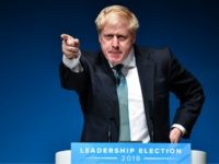 PERTH, SCOTLAND - JULY 05: Conservative leadership candidate Boris Johnson addresses an audience of party members as he takes part in a Conservative Party leadership hustings event at Perth Concert Hall on July 5, 2019 in Perth, Scotland. Boris Johnson and Jeremy Hunt are the final two MPs left in …