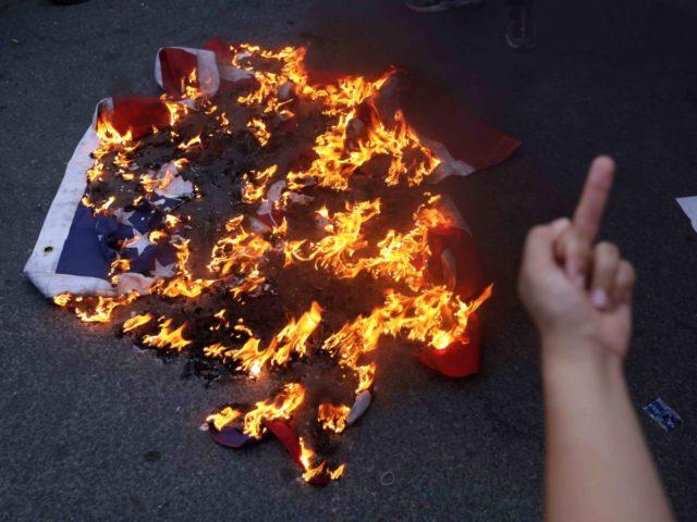 Burned American flag Fourth of July (Alex Wong / Getty)