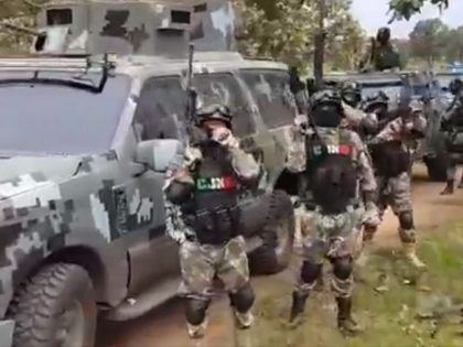 Cartel Jalisco Nueva Generacion leakes video showing what appears to be a paramilitary armored unit. (Breitbart Texas / Cartel Chronicles)