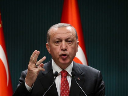 Turkish President Recep Tayyip Erdogan gestures as he delivers a speech following a cabinet meeting, in Ankara, on June 9, 2020. (Photo by Adem ALTAN / AFP) (Photo by ADEM ALTAN/AFP via Getty Images)