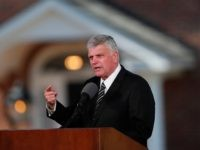 Pastor Franklin Graham speaks during a funeral service at the Billy Graham Library for the Rev. Billy Graham, who died last week at age 99, Friday, March 2, 2018, in Charlotte, N.C. (AP Photo/John Bazemore)