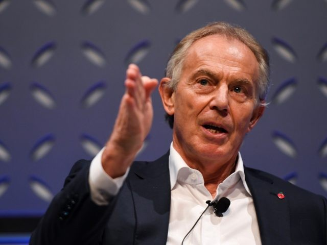 LISBON, PORTUGAL - NOVEMBER 07: Former British Prime Minister Tony Blair on Forum Stage during day two of Web Summit 2018 at the Altice Arena on November 7, 2018 in Lisbon, Portugal. In 2018, more than 70,000 attendees from over 170 countries will fly to Lisbon for Web Summit, including …