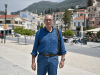"Georgios Stantzos, who was in June elected mayor for a constituency accounting for half of Samos, poses in the center of Vathy at Samos island on June 19, 2019. - ""It's as if the EU decided to make Samos a warehouse of human souls,"" he told AFP. With nearly 9,000 …"