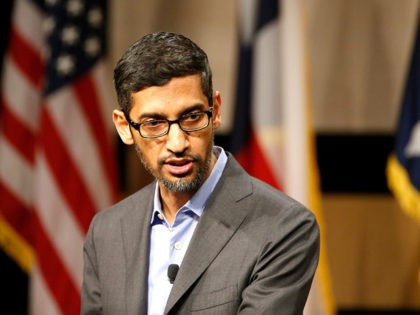 DALLAS, TX - OCTOBER 03: CEO of Google, Sundar Pichai, speaks before signing the White Houses Pledge To Americas Workers at El Centro community college on October 3, 2019 in Dallas, Texas. Google announced that it is committing to a White House initiative designed to get private companies to expand …