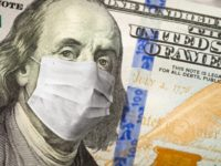 One Hundred Dollar Bill With Medical Face Mask.