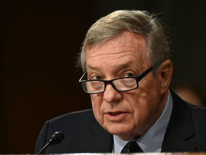 "U.S. Sen Dick Durbin (D-IL) speaks during the Senate Judiciary Committee hearing titled ""Examining Best Practices for Incarceration and Detention During COVID-19,"" in the Dirksen Building in Washington, DC on June 2, 2020. (Photo by ERIN SCOTT / POOL / AFP) (Photo by ERIN SCOTT/POOL/AFP via Getty Images)"