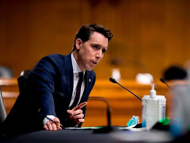 "Sen. Josh Hawley, R-MO, speaks during a Senate Judiciary Committee hearing ""to examine COVID-19 fraud, focusing on law enforcement's response to those exploiting the pandemic"" on Capitol Hill in Washington, DC on June 9, 2020. (Photo by Andrew Harnik / POOL / AFP) (Photo by ANDREW HARNIK/POOL/AFP via Getty Images)"