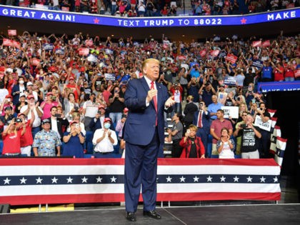 US President Donald Trump arrives for a campaign rally at the BOK Center on June 20, 2020 in Tulsa, Oklahoma. - Hundreds of supporters lined up early for Donald Trump's first political rally in months, saying the risk of contracting COVID-19 in a big, packed arena would not keep them …