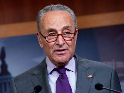 WASHINGTON, DC - JUNE 30: Senate Minority Leader Chuck Schumer (D-NY) speaks during a press conference on Capitol Hill on June 30, 2020 in Washington, DC. Schumer criticized the administration's response to reports that Russia offered bounty to the Taliban to kill American soldiers, and stated that he has requested …