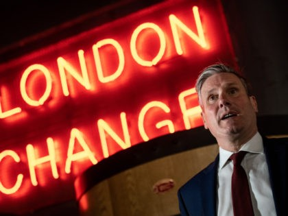 LONDON, ENGLAND - JULY 06: Labour Party leader, Sir Keir Starmer, is shown around Tower Hill Brewdog pub on July 6, 2020 in London, England. Pubs in England were allowed to open this Saturday July 4 and drinkers were met with measures to reduce the spread of Coronavirus. (Photo by …