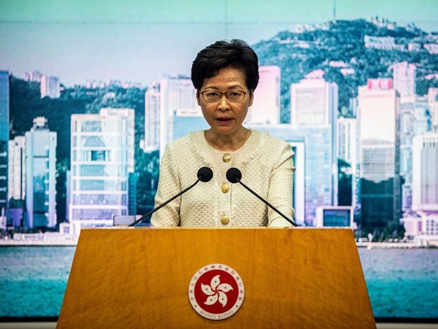 Hong Kong Chief Executive Carrie Lam speaks to the media about the new national security law introduced to the city at her weekly press conference in Hong Kong on July 7, 2020. - China has quickly moved to censor Hong Kong's internet and access users' data using a feared new …