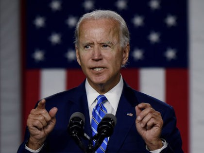 "Democratic presidential candidate and former Vice President Joe Biden speaks at a ""Build Back Better"" Clean Energy event on July 14, 2020 at the Chase Center in Wilmington, Delaware. (Photo by Olivier DOULIERY / AFP) (Photo by OLIVIER DOULIERY/AFP via Getty Images)"