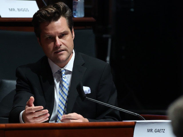 Rep. Matt Gaetz (R-FL) questions Attorney General William Barr before the House Judiciary Committee hearing in the Congressional Auditorium at the US Capitol Visitors Center July 28, 2020 in Washington, DC. - In his first congressional testimony in more than a year, Barr is expected to face questions from the …