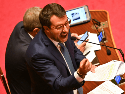 Italian senator and Lega party far-right leader Matteo Salvini, delivers his speech on July 30, 2020 at Italy's Senate in Rome before the votes on whether Salvini should be stripped of his parliamentary immunity so he can be tried for the second time for allegedly illegally detaining migrants at sea. …
