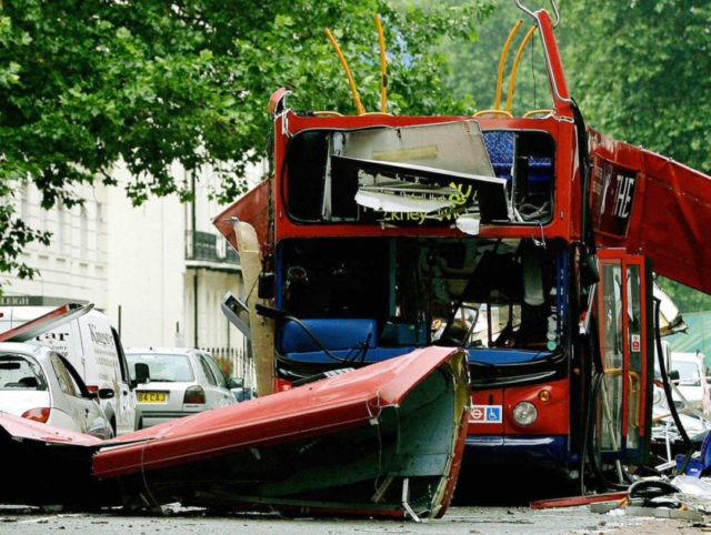 LONDON, United Kingdom: (FILES) The wreck of the Number 30 double-decker bus is pictured in Tavistock Square in central London, 08 July, 2005. The chances of preventing the July 7 attacks might have been greater had different investigative decisions been made by the Security Service, an official report concluded Thursday. …