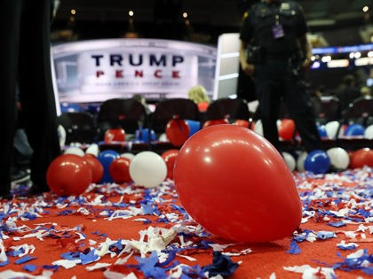 CLEVELAND, OH - JULY 21: Balloons and confetti are seen at the end of the fourth day of the Republican National Convention on July 21, 2016 at the Quicken Loans Arena in Cleveland, Ohio. Republican presidential candidate Donald Trump received the number of votes needed to secure the party's nomination. …