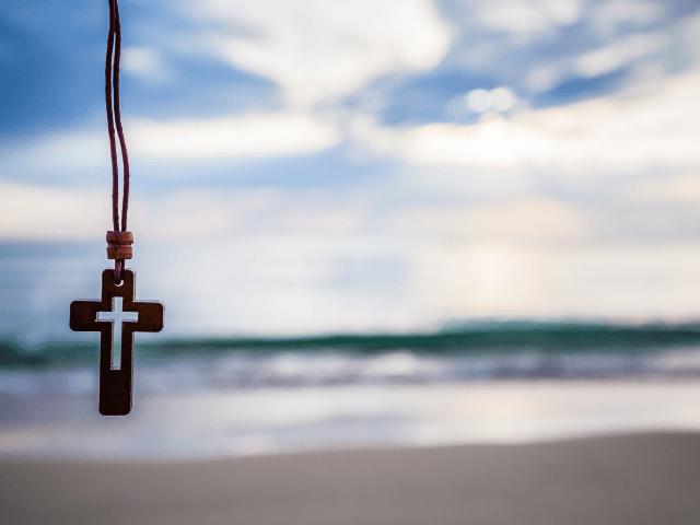 cross on beach